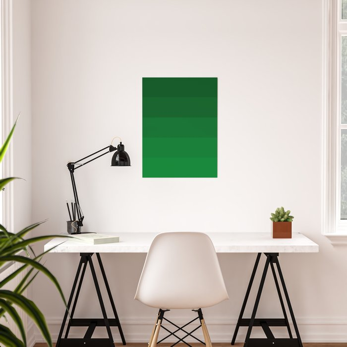 Rich Forest Evergreen Stripes Ombre Poster