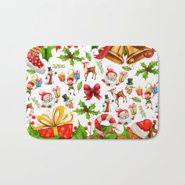 Holiday festive red green holly Christmas pattern Bath Mat