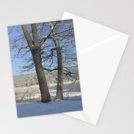 December Snow Delaware River View Stationery Cards