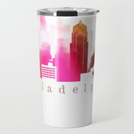 Colorful Philadelphia skyline Travel Mug