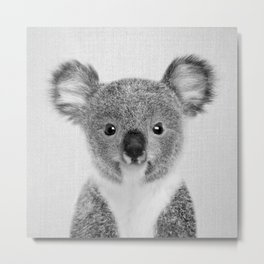 Baby Koala - Black & White Metal Print
