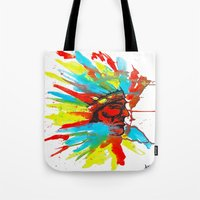 native american Tote Bags featuring Native American by ART HOLES