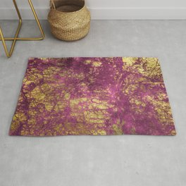 Pink-Magenta Elegant Marble With Ornate Gold Veins Rug