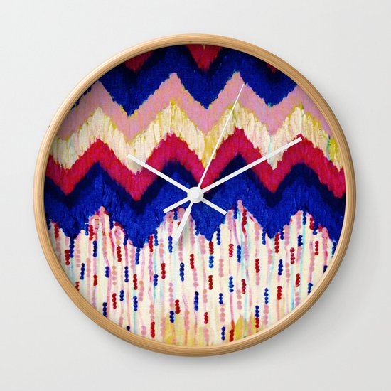 SHINE ON, Revisited - Americana Red White Blue USA Abstract Acrylic Painting Home Decor Xmas Gift Wall Clock
