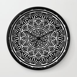 Black and White Simple Simplistic Mandala Design Ethnic Tribal Pattern Wall Clock