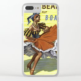 Vintage travel poster - Caribbean Clear iPhone Case