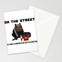 Smoking Gopnik slav bear wearing ushanka squat on the street with semechki and vodka with text Stationery Cards