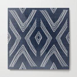Birch in Navy Blue Metal Print