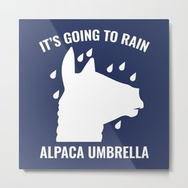 Alpaca Umbrella Metal Print