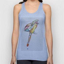 Sideways, female dancer anatomy, NYC artist Unisex Tank Top