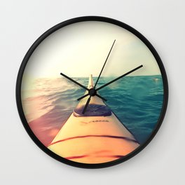 Yellow Kayak in Water Color Nature Photography Wall Clock