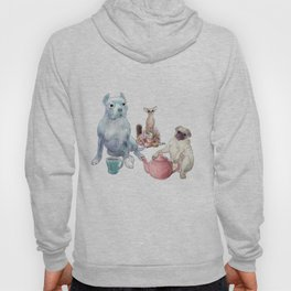 The pitbull pug and chi sat down for some tea Hoody