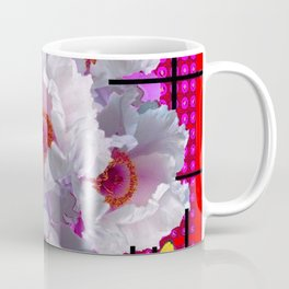 BUTTERFLIES MODERN WHITE TREE PEONY FLOWERS RED ART Coffee Mug