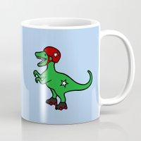 roller derby Mugs featuring Roller Derby Velociraptor by Jez Kemp