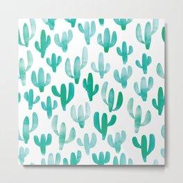 Watercolour Cactus Print Metal Print