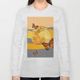 MOON & MONARCH BUTTERFLIES DESERT SKY ABSTRACT ART Long Sleeve T-shirt