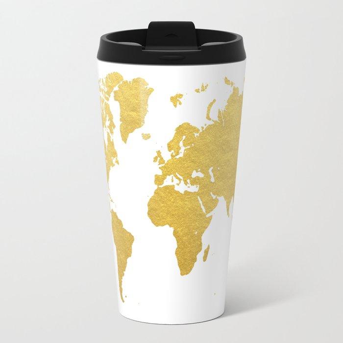 Gold world map travel mug by bysamantha society6 gold world map travel mug sciox Image collections