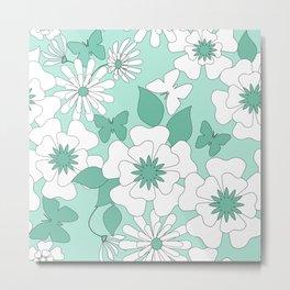 Turquoise floral pattern . Metal Print