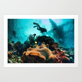 Colourful seascape with diver silhouette Art Print