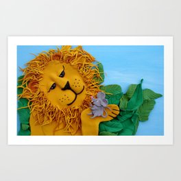 Lion and mouse Art Print