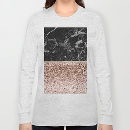 Warm chromatic - rose gold and black marble Long Sleeve T-shirt