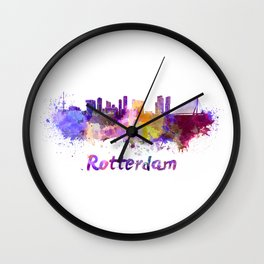 Rotterdam skyline in watercolor Wall Clock