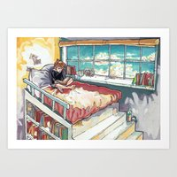 bed Art Prints featuring Bed. by Lucy Roslyn