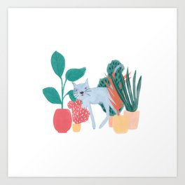 Cat Plants Art Print