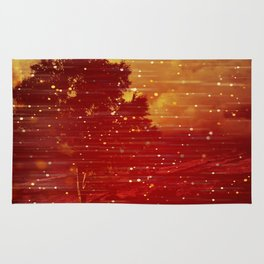 Red and Gold Storms Rug