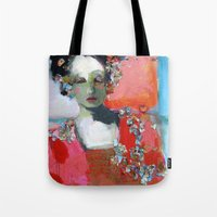 dress Tote Bags featuring Red Dress by Corinne Galla Studios
