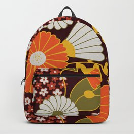 Maroon, Orange, Yellow and Red Retro Flowers Backpack