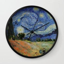 Poppy Fields + Starry Night | Collage 2.0 by Kristi Duggins Wall Clock