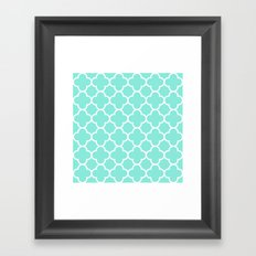 MOROCCAN {TEAL & WHITE} Framed Art Print