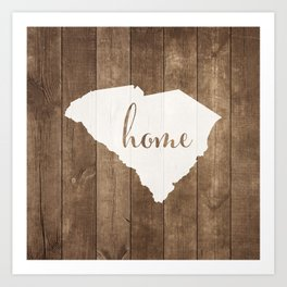South Carolina is Home - White on Wood Art Print