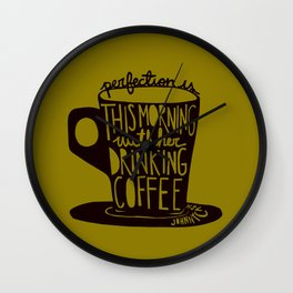 Perfection Is in Brown and Mustard Wall Clock