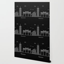 Vancouver Minimal Nightscape / Skyline Drawing Wallpaper