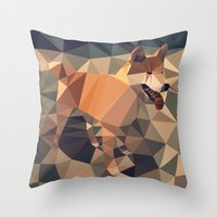 shiba inu Throw Pillows featuring Triangular shiba inu by Matěj Kašpar Jirásek