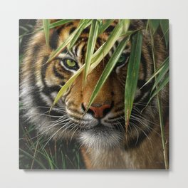 Tiger - Emerald Forest Metal Print