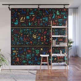 Ancient Egyptian hieroglyphs -Colorful Marble and Gold Wall Mural