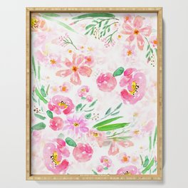 pink flowers and green leaf pattern  Serving Tray