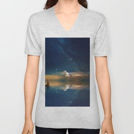 Sailboat in Space (Color) Unisex V-Neck
