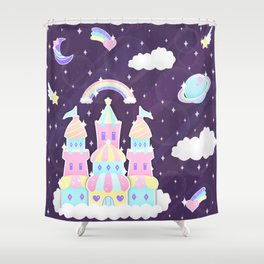 Dreamy Cute Space Castle Shower Curtain