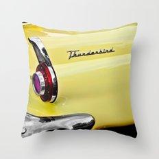 Yellow Vintage Ford Thunderbird Car Throw Pillow