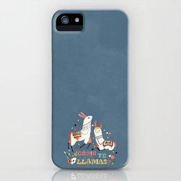 Como te Llamas. Funny Spanish Word Humor. Flowers and two Llamas iPhone Case