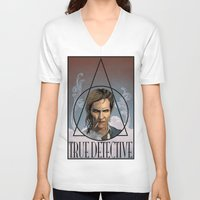 true detective V-neck T-shirts featuring True Detective by Pop Vulture