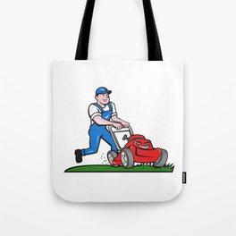 Gardener Mowing Lawn Mower Cartoon Tote Bag