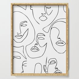 LINE ART FACES 001. minimalist wall art, face line art, continuous line art, one line drawing Serving Tray