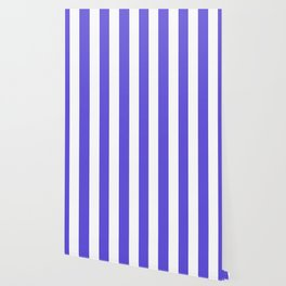Majorelle blue - solid color - white vertical lines pattern Wallpaper