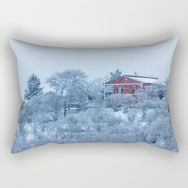 Red house lost in a snowy storm Rectangular Pillow