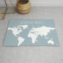 Adventure Awaits World Map in Slate Blue Rug